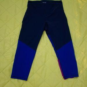 Blue Color Block Activewear Crops